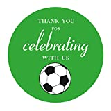 2 Inch Soccer Thank You Stickers, Futbol Themed Baby Shower Birthday Party Favor Sticker Labels, 40-Pack