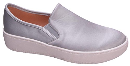 Cambridge Select Dames Gesloten Ronde Neus Stretch Slip-on Casual Flatform Sneaker Grijs