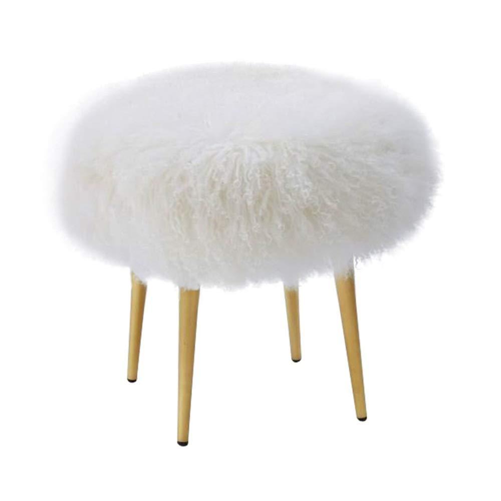 MELLRO Schlafzimmerhocker Rund Ottoman Mit Metallbeinen Mid-Century-Pelz-Dekorative Schlafzimmer Dressing Chair (Farbe, Größe : 45x45cm)