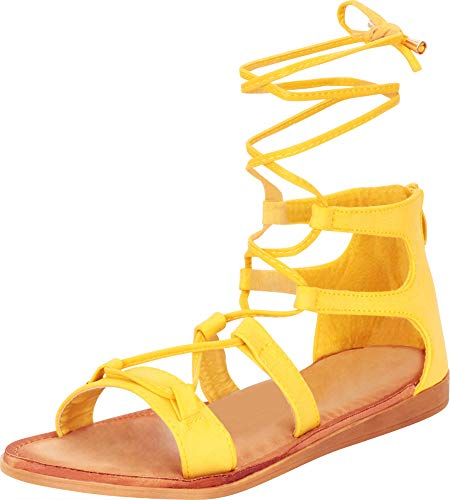 Cambridge Select Women's Crisscross Strappy Ankle Tie Flat Gladiator Sandal,5.5 B(M) US,Mustard PU