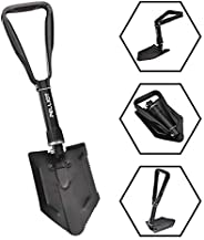 PELLIOT Camping Folding Shovel Military Carbon Steel Snow Shovel Collapsible Survival Entrenching Tool with T-