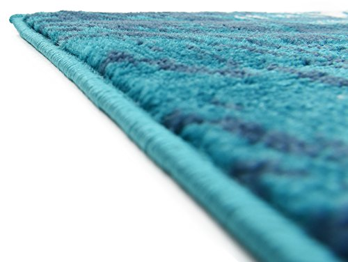 Abstract 9 feet by 12 feet (9' x 12') Sofia Turquoise Area Rug