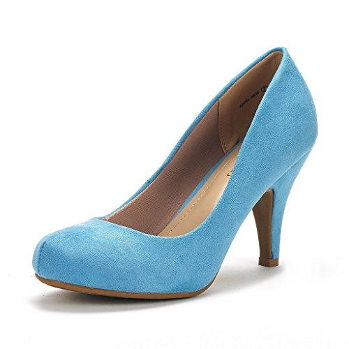 DREAM PAIRS ARPEL Women's Formal Evening Dance Classic Low Heel Pumps Shoes New Blue Suede Size 10