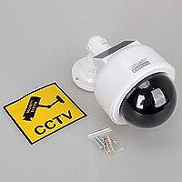 Dynamic caméra de surveillance intérieur/extérieur. Fausse caméra de sécurité pour la maison, alimentée par 2x piles AA et énergie solaire, avec lumière clignotante. Blanche