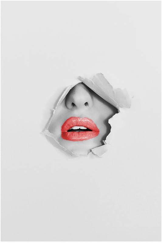 Minimalista Pared Arte Colorido Labios Lienzo Pintura Abstracto Mujer Cara Poster y Impresiones Moderno Pared Cuadros para Salon Habitación Decoración 40X60cm No Enmarcado