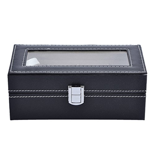 Valyria Mens Watch Case Small 4 Watch Box Black Leather Display Glass Top Jewelry Case Organizer