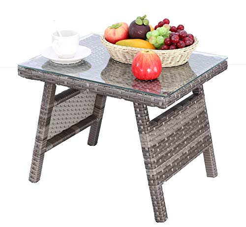 HTTH Outdoor Wicker Table, Durable and Sturdy Outdoor Rattan Table, Outdoor Coffee Table with Glass Top, Modern All Weather Outdoor Patio Garden Backyard Furniture Grey-Coffee Table-Small