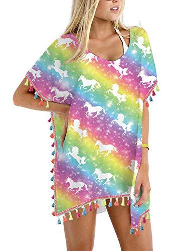 Women's Colorful Neon Unicorn Chiffon Rainbow Tassel Beach Swimwear Cover Up Swimsuit Beach Dress Pom Pom Trim Kaftan Bikini Swimwear Cover-Ups