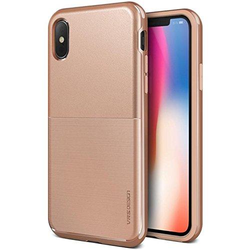 VRS Design Case for Apple iPhone Xs (5.8″ Inch) High Pro Shield Metal Lustre Finish Blush Gold Color