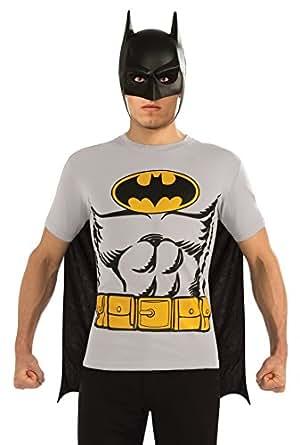 DC Comics Batman T-Shirt With Cape And Mask, Black, Medium