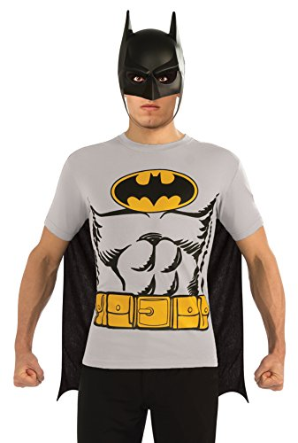 [DC Comics Batman T-Shirt With Cape And Mask, Black, Large] (Hero Costumes For Men)