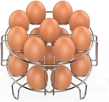 Egg Steamer Rack、Veckle 2 Pack Stackable Instant Pot Egg Rack Accessories 6、8 Qt、Cook 18 Eggs、Stainless Steel Kitchen Trivet Stackable Steaming Holder Pressure Cooker Accessories