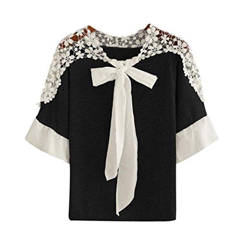 Patchwork shirt Moonuy Chemisier Noeud Tops courtes Casual Femmes T shirt Automne Automne femmes Noir blouse papillon manches souple dentelle 8q14R4w
