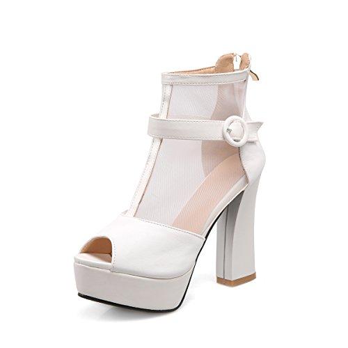 ZHZNVX Street style sandales de bouche de poisson sexy boucle de ceinture net fil fermeture à glissière plate-forme imperméable chaussures à talons hauts White 8tmi73a