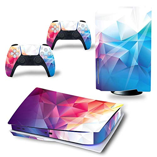 Dreamteam PS5 Skin Disc Edition Geometric Skin Sticker Decal Cover for PS5 PlayStation 5 Console and 2 Controllers PS5 Skin Sticker Vinyl