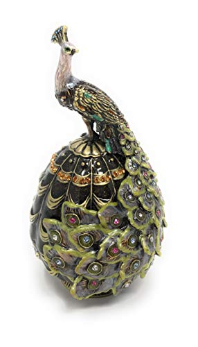 Kubla Crafts Enameled Peacock on Egg Trinket Box, Accented with Austrian Crystals, 4.25 Inches Tall ()