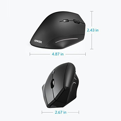 Anker Wireless Mouse, Ergonomic USB 2.4G Wireless Vertical Mouse with 3 Adjustable DPI Levels 800/1200/1600 and Side Controls, Black by Anker (Image #5)