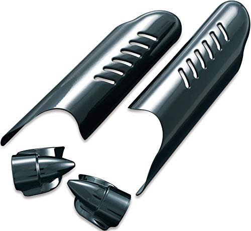 Kuryakyn 7209 Motorcycle Accent Accessory: Lower Fork Leg Deflector Shields with Fender Boss Covers for 2000-13 Harley-Davidson Motorcycles, Gloss Black, 1 Pair ()
