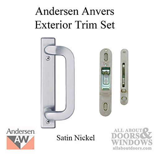 Andersen Frenchwood Gliding Door Trim Hardware, Anvers 2 Panel Exterior - Satin Nickel