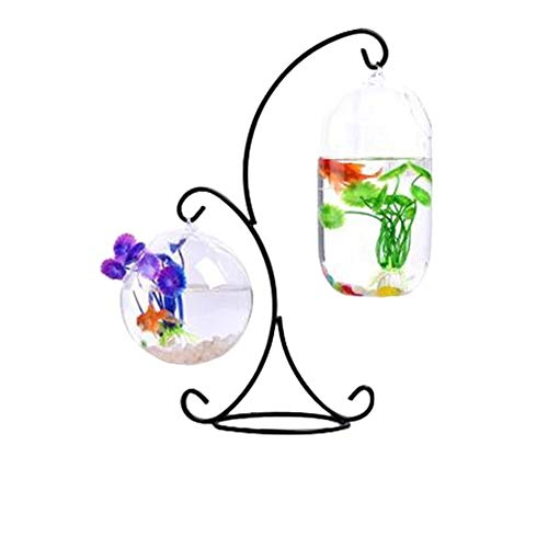 BEITAI Hanging Type Glass Vase Fish Tank Glass Aquarium Flower Plant Vase with R-Type Iron Frame Big Melon and 12cm Ball for Decor (Color : As Shown) ()