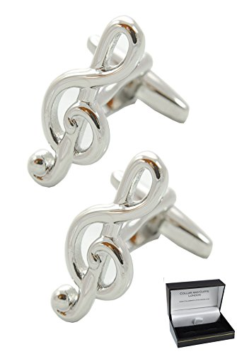 COLLAR AND CUFFS LONDON - Premium Cufflinks with Gift Box - Treble Clef Musical - Solid Brass - Music Teacher Singer Player Violin Piano Instrument DJ - Silver Color