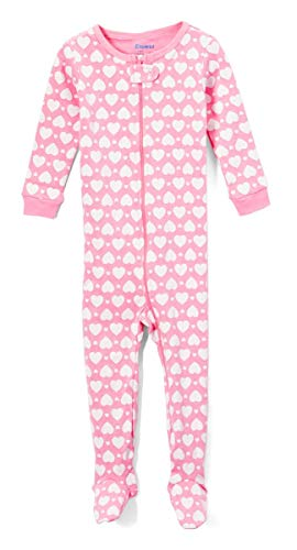 Elowel Baby Girls Footed Heart Pajama Sleeper 100% Cotton Size 2 Years Pink