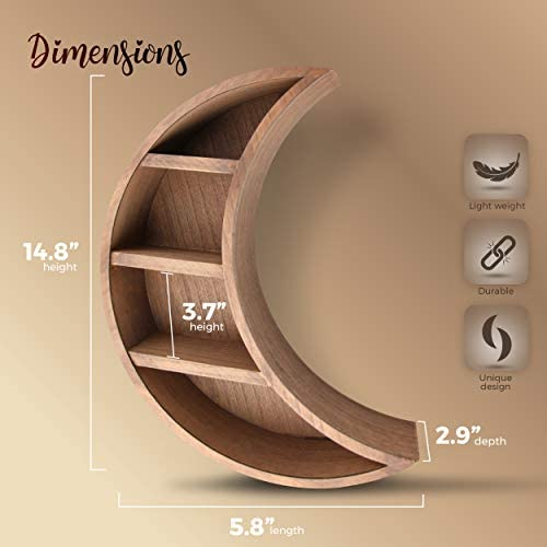41s6Y8qprJL. AC - Lunar Sol - Crescent Moon Shelf For Crystals - Solid Wood Craftsmanship For Any Home, Nursery, Dorm Or Bedroom - Great For Stones, Crystals, Essential Oils And Plants - Boho Display Wall Decor