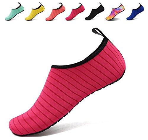 AoSiFu Barfuß Wasserschuhe Aqua Socken Surf Pool Yoga Strand Schwimmen Übung für Männer und Frauen Roseriert