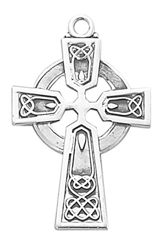 Solid .925 Sterling Silver Large Celtic Cross Crucifix Medal With 24'' Chain Pendant Necklace And Gift-Ready Boxed