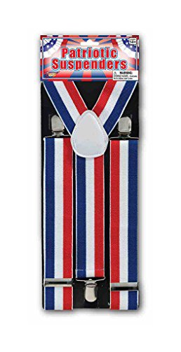 Adult size Patriotic Striped Red White Blue (Red White And Blue Suspenders)
