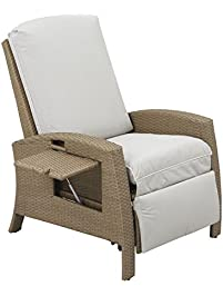 outsunny outdoor rattan wicker adjustable recliner lounge chair beige and gray - Lounge Chair Outdoor