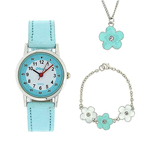 The Olivia Collection Kids Flower Watch & Jewellery Gift Set for Girls KS005 from The Olivia Collection