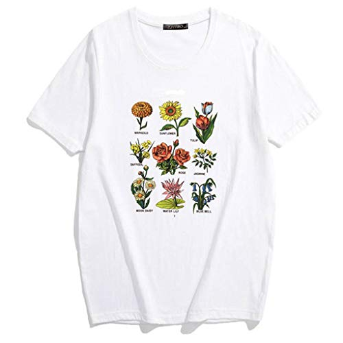 Lovhop Women Girls Summer Roll Up Short Sleeve T-Shirt 90s Vintage Sunshine Plant Wildflower Graphic Harajuku Loose Tees Tops Blouse