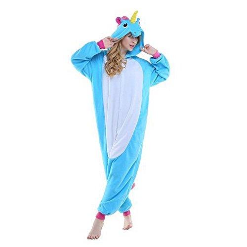 Unisex Animale Adulto Rainbow Unicorno Pigiama notte Flanella da per Costume stella Blu Fox indumenti qrX0qY