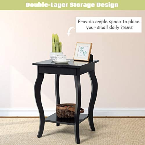 Giantex End Table 16 W Storage Shelf Curved Legs Home Furniture for Living Room Accent Sofa Side Table Nightstand 2, Black