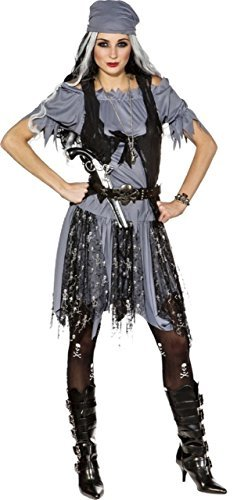 Ladies Ghostly Zombie Grey Pirate Halloween Horror Scary Fancy Dress Costume Outfit UK 8-20 (UK 6-8 (EU 34/36))