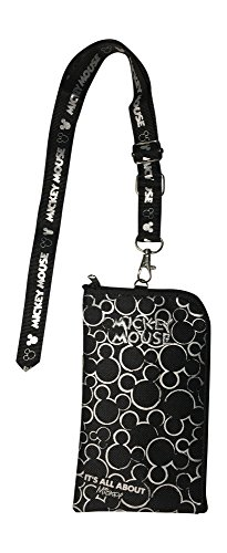 Disney Mickey Mouse Black & Silver Lanyard with Detachable Coin Purse (Silver)