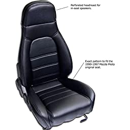 Mazda Miata Front Seat Cover Kit for 1990-1996 Standard Seats, Black Simulated Leather