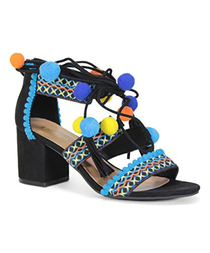 Bamboo Highlight 32S Womens Embroidered Multicolor Fringe Block Heel Pom Pom Sandals Black 8ROxgHbT
