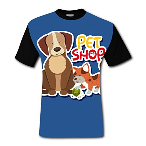 Dog and Cat Men's Top T-Shirt Fashion Short Sleeve Tee Shirts for Men ()