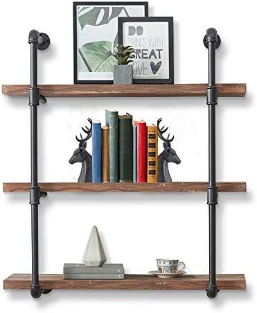 CASANUVA 3-Shelf Black Iron Pipe Shelving Unit, Industrial Black Pipe Wall Shelf, Rustic Brown Boards Included