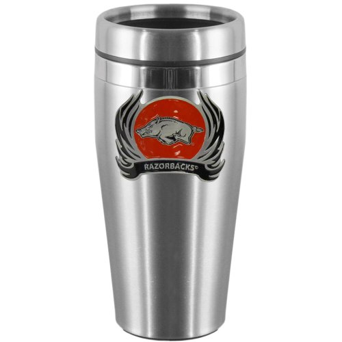 NCAA Arkansas Razorbacks Steel Travel Mug with Flame (Flame Logo Mug)