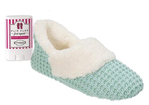Dearfoams Women's Textured Knit Bootie and PUREfactory Naturals Mango Coconut Mini Foot Repair Bundle (Large/9-10, Wintermint)