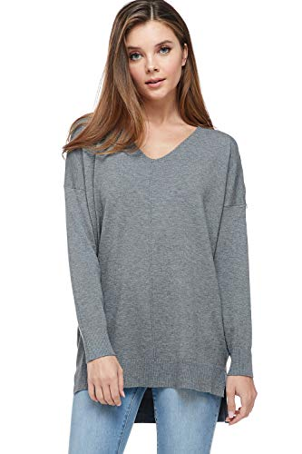 A+D Womens Loose V-Neck Pullover Sweater Top W/Slight Hi-Low (Charcoal, Small/Medium)