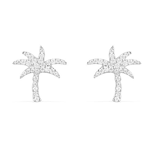 Sterling Silver White Gold Plating Palm Tree Studs Summer Style Pave Post Stud Earrings (Plamtree-S)