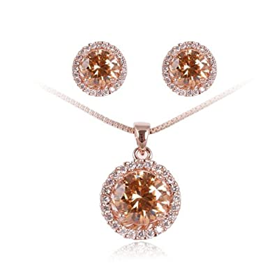 Fashion Plaza Black Friday Christmas Gift Women`s Basket Set CZ Necklace and Earring Jewelry Sets S93