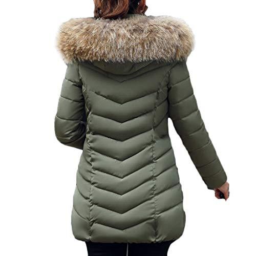 Armygreen Solido Colore Donne Lunghe Yefree Delle Giacca Inverno Maniche Caldo zwqU665