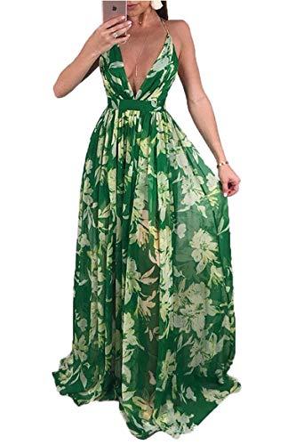 - Doris Apparel Women's Boho Sleeveless Tie-Dye Maxi Dress Tank Dress (X-Large, Chiffon-Green)