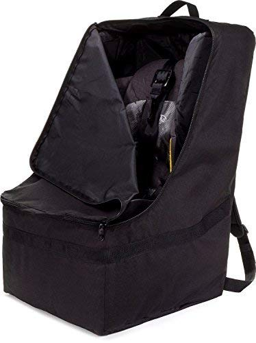 ZOHZO Car Seat Travel Bag - Adjustable, Padded Backpack for Car Seats - Car Seat Travel Tote - Save Money, Make Traveling Easier - Compatible with Most Name Brand Car Seats (Black with Black Trim)