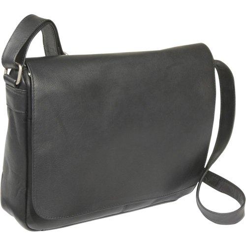 Le Donne Leather Flap Over Shoulder Bag (Black), Bags Central